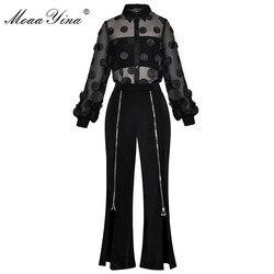 MoaaYina traje de diseñador de moda Primavera Verano mujer ver a través de malla apliques camisa Tops + cremallera pantalones divididos de dos piezas conjunto