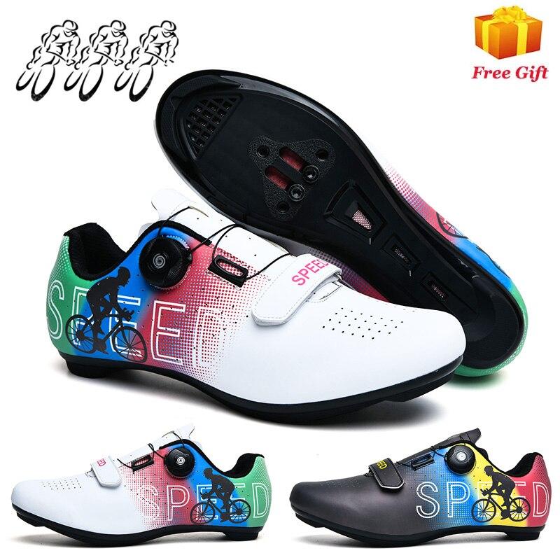 Новая зимняя велосипедная обувь без застежки, профессиональная обувь на жесткой подошве для шоссейных и горных велосипедов с замком для му...