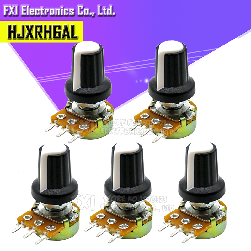 10pcs WH148 1K 10K 20K 50K 100K 500K Ohm 15mm 3 Pin Linear Taper Rotary Potentiometer Resistor For Arduino With AG2 White Cap