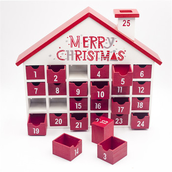 Wooden Christmas Printed Advent Calendar Storage Box with Drawers Wood House Shape Countdown Calendar Boxes Home Xams Decoration
