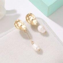 New Korean Version of Simple Temperament Pearl Woman Geometric Irregular Fashion Long Earrings Wholesale Tassel Earrings korean version of ins fashion earrings pearl trend earrings temperament goddess simple jewelry