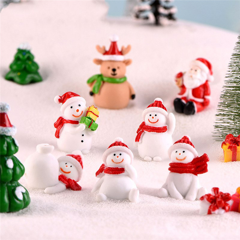 Christmas Snowman Santa Claus Trees Gift Figurines Fairy Garden Miniatures Craft