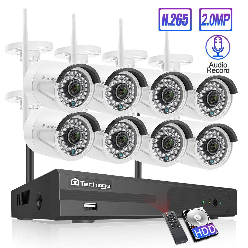 Techage 8CH Audio dźwięk bezprzewodowy system bezpieczeństwa cctv 1080P 2MP Wifi NVR wodoodporna kamera P2P wideo zestaw do nadzorowania 3TB HDD