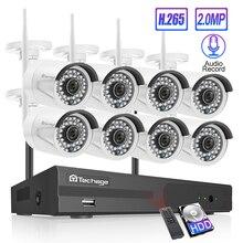 Techage 8CH Audio Geluid Draadloze Cctv Security System 1080P 2MP Wifi Nvr Waterdichte Camera P2P Video Surveillance Kit 3 tb Hdd
