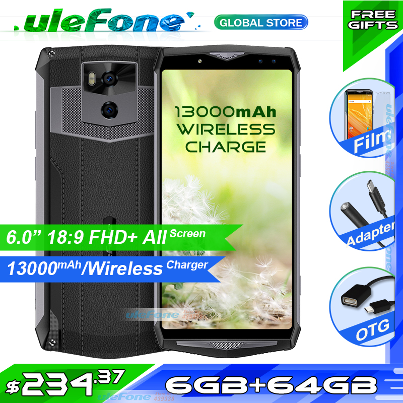 "Ulefone Power 5 13000mAh 4G Smartphone 6.0"" FHD MTK6763 Octa Core Android 8.1 6GB+64GB 21MP Wireless Charger Fingerprint Face ID"
