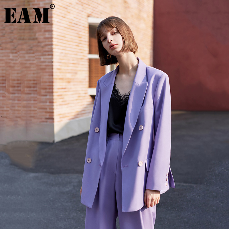 [EAM] Loose Fit Brief Purple Double Breasted Jacket New Lapel Long Sleeve Women Coat Fashion Tide Spring Autumn 2020 1H090