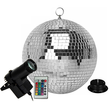 Thrisdar Glass Rotating Mirror Ball With Remote Control 10W RGB Beam Pinspot Lamp Holiday Party KTV Bar Hanging Disco Light