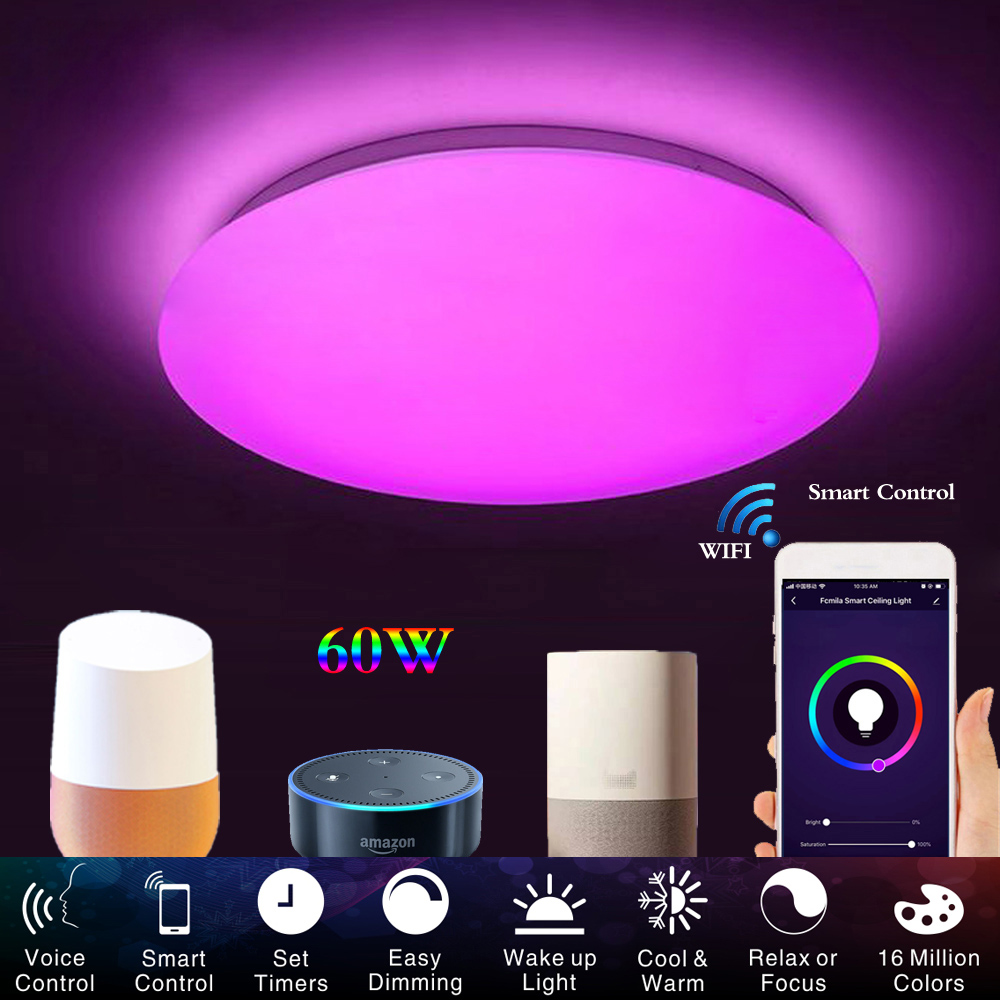 Smart Modern Ceiling Light wifi Voice Control Suitable for living room bedroom kitchen, dimming color WIFI LED ceiling lamp