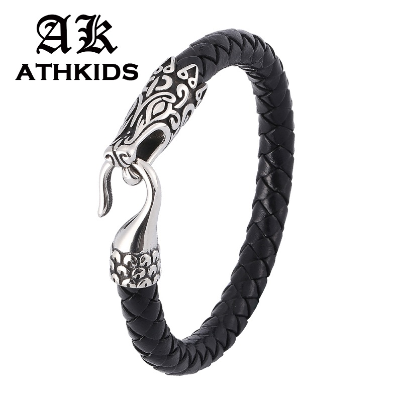 Black/Brown Leather Braided Bracelet Men New Design S.Steel Toggle Clasp Animal Bracelet Male Wristband Punk Jewelry PD0389