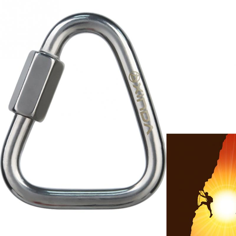 Protective Equipment Safe Clip Hiking Carabiner Stainless Steel Triangle Connecting Ring Climbing Lock Keychain Mountaineering