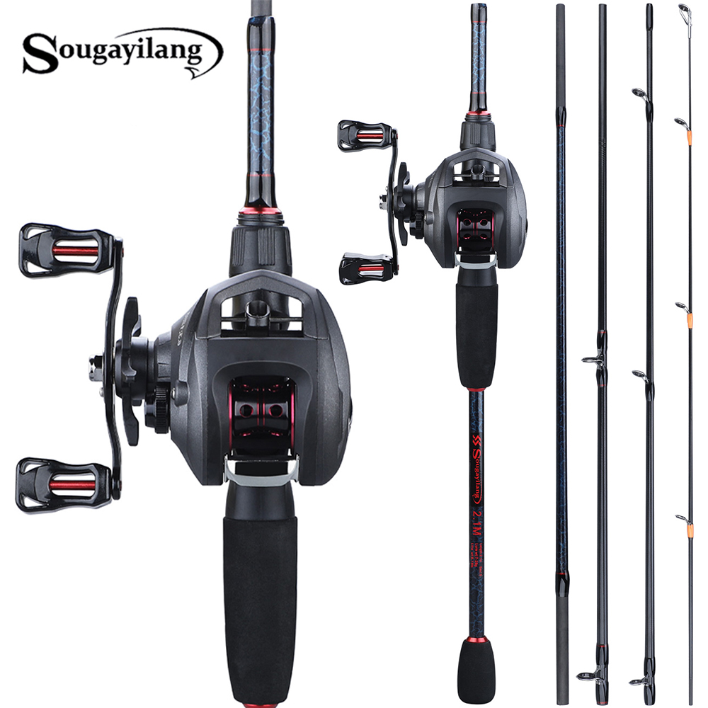 Sougayilang  Fishing 1.8-2.4m Rod Combo Portable 5 Section Carbon Fishing Rod And 6.3:1 Gear Ratio12+1bb Casting Reel Set