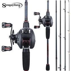 Sougayilang Fishing 1.8 2.4m Rod Combo Portable 5 sekcja wędka węglowa i 6.3: 1 Gear Ratio12 + 1bb kołowrotek wędkarski zestaw w Zestaw wędkarski od Sport i rozrywka na