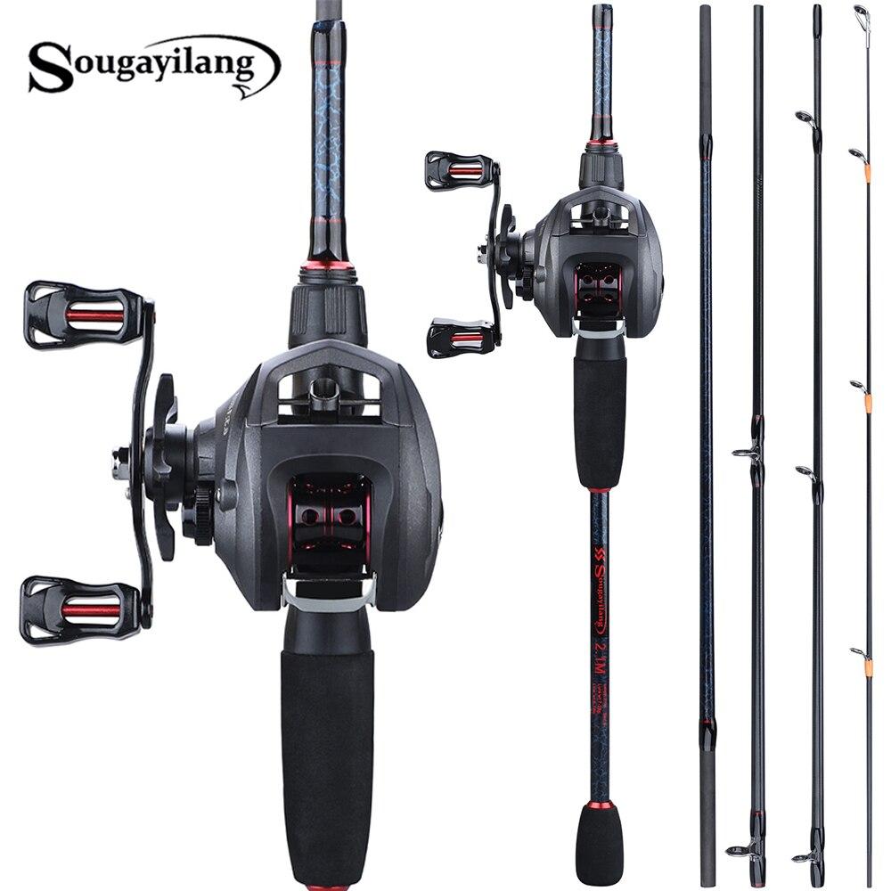 Sougayilang Pesca 1.8-2.4m Set canna e mulinello Portatile 5 Sezione Canna Da Pesca In Carbonio e 6.3: 1 Gear Ratio12 + 1bb Casting Reel Set