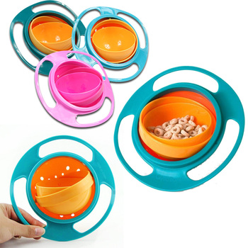 Magic Bowl 360 Rotate odporne na zalanie niemowlęta maluch Baby Kids Training miska dla zwierząt praktyka karmienie wyciek bez wycieku