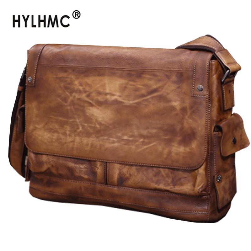 Business casual leather laptop bag men's briefcase vegetable tanned head layer cowhide men shoulder bag retro messenger bag male