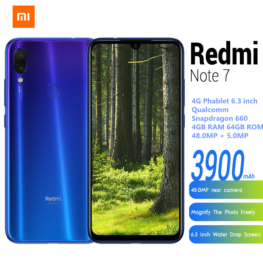 Xiaomi redmi nota 7 4g smartphone 6.3 mimiui 10 (android 9.0 torta) qualcomm snapdragon 660 octa núcleo 4 gb 64 gb 48mp telefone móvel
