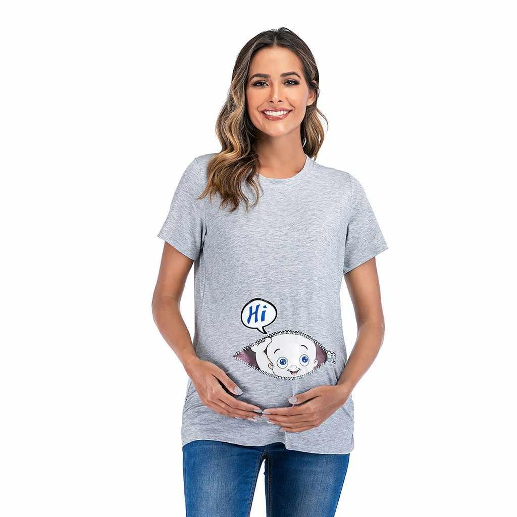 Women Maternity Short Sleeve Cartoon Letter Print Tops T-shirt Pregnancy Clothes