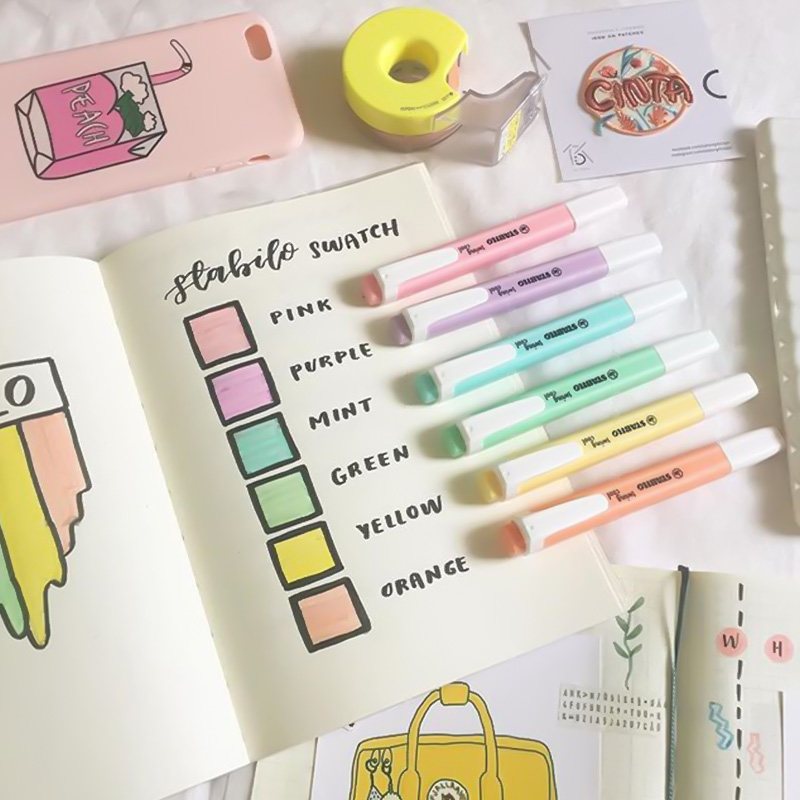 STABILO Swing Cool Highlighter Pen, Pocket Sized Pastel Color Marker, 1+4mm Highlighting Drawing Painting Liner School F522
