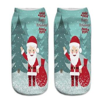 New 3D Print Christmas Socks Unisex Cartoon Elk Snowman Santa Women Socks Low Cut Ankle Christmas Calcetines Mujer New Year Gift cartoon elk print christmas tee