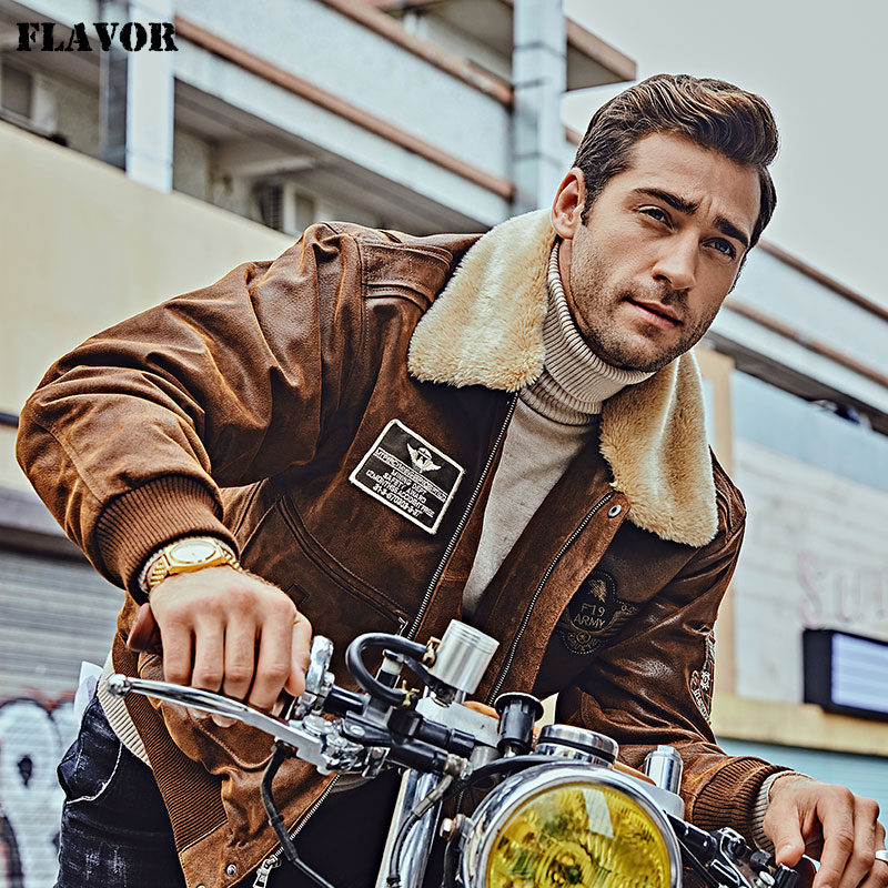 Image 5 - FLAVOR New Men's Real Leather Bomber Jacket with Removable Fur Collar Genuine Leather Pigskin Jackets Winter Warm Coat Men-in Genuine Leather Coats from Men's Clothing