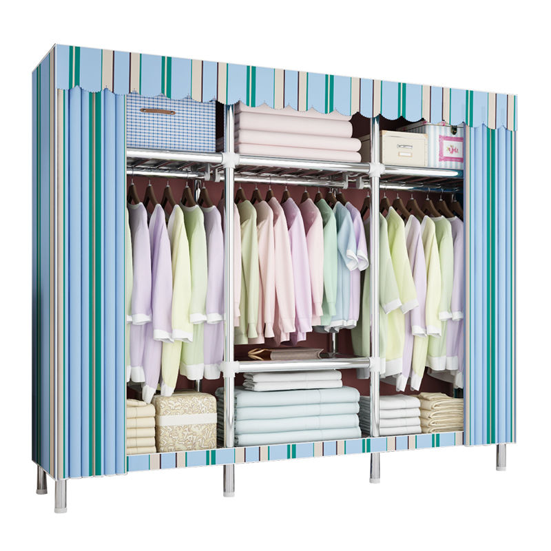 Cloth Wardrobe Full Steel Frame Large Capacity Simple Rental Housing Steel Tube Bold Reinforcement Double Fabric Home Large