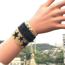 Hand-woven Five-pointed Star Pattern Fashion Pop Punk Style Rivet Crystal Bracelet hairpin lace entry tutorial crochet hairpin pattern style pattern daquan hand knitted practical stitch technique woven books