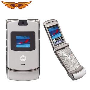 V3 Original Motorola Razr V3 GSM Quad Band Flip Unlocked Old Refurbished Mobile Phone