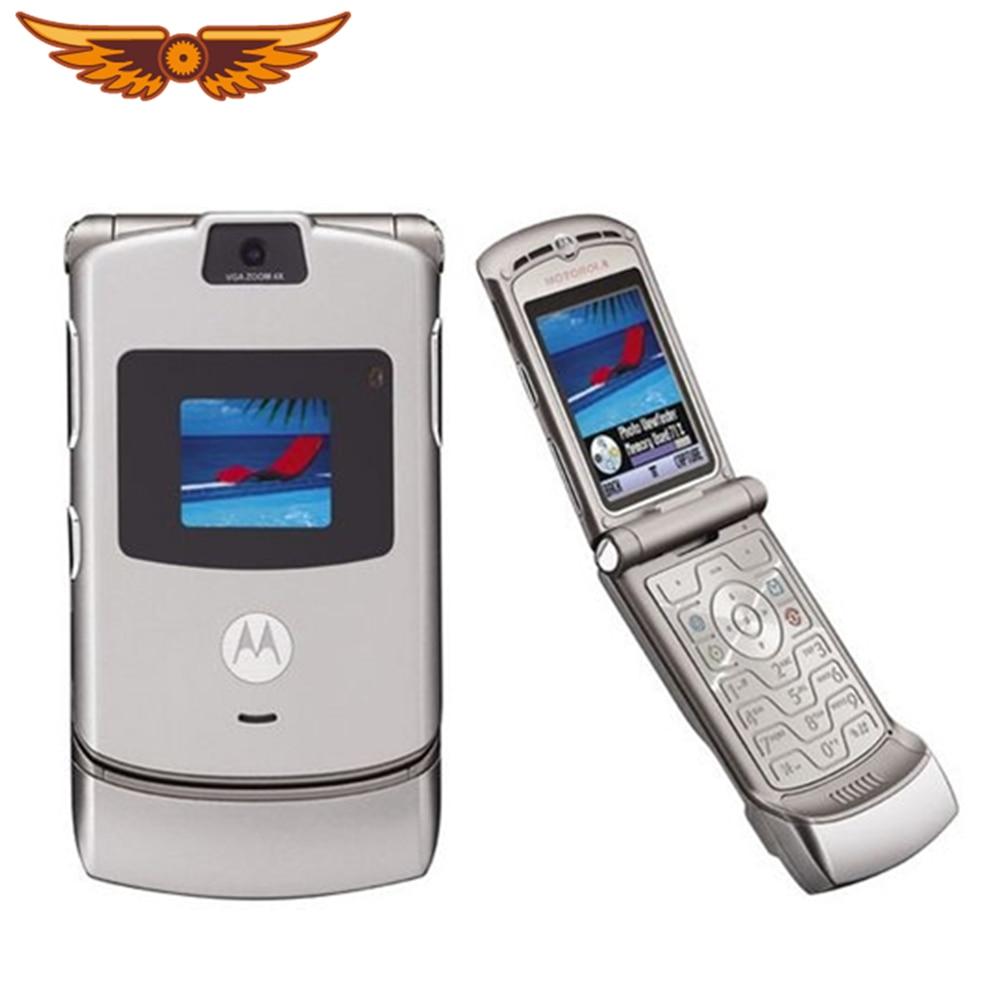 V3 оригинальный Motorola Razr V3 диапазона квада GSM флип разблокированный старый использовать мобильный телефон