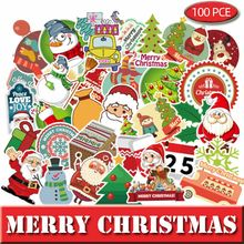 100 Pcs Kerst Bagage Stickers Voor Laptop Guaitar Skateboard Santa Stickers Diy Koffer Fiets Auto Waterdichte Sticker 166(China)