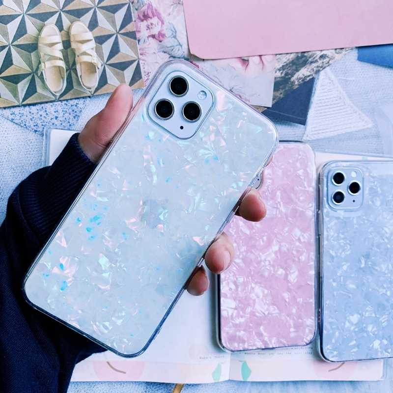 For iPhone X 10 11 Pro XR XS Max 8 7 6 6s Plus Glitter Shell Pattern Sparkle Bling Clear Soft Silicone TPU Phone Case Cover Capa