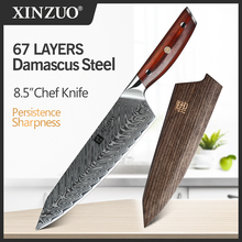 XINZUO 8.5 in Chef Knife Damascus Japanese 67 Layer Kitchen Chef Knife Rosewood Handle Ultra Sharp VG10 Stainless Steel Knives