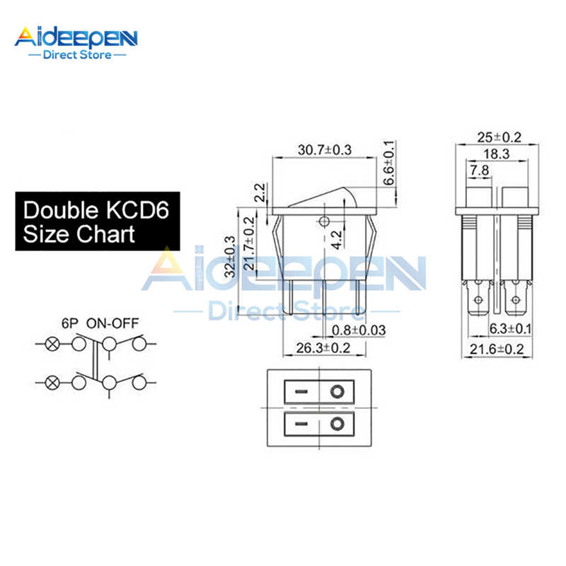 KCD6 التيار المتناوب 20A/125 فولت 15A/250 فولت مزدوج مفتاح الإضاءة الروك التبديل 25x31 مللي متر ON-OFF 2/3 موقف 4/6 دبابيس قارب زر التبديل
