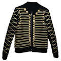 Jaqueta de luxo masculino blazers caot festa de formatura smoking glod botões zíper preto fino ajuste masculino terno jaqueta