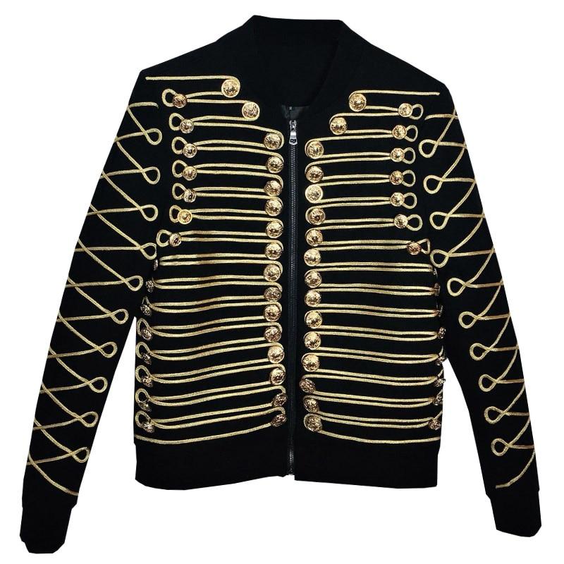 Luxury Men's Jacket Blazers Caot Prom Party Tuxedo Glod Buttons Zipper Black Slim Fit Male Suit Jacket