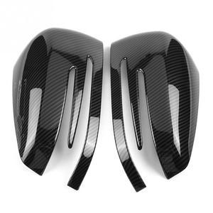 Image 3 - 2pcs Carbon Fiber Side Rearview Mirror Cap Cover Trim for Mercedes Benz A B C E GLA Class W204 W212 ABS Plastic Car Accessories