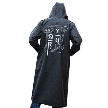Fashion Long Adult Raincoat Men Women EVA Black Impermeable Outdoor Hiking Rain Coat Poncho Jacket Hooded Waterproof Reusable