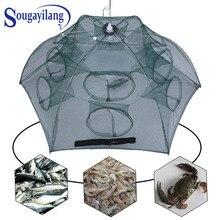 Sougayilang 4-20 Holes Fishing Net Folded Automatic Fishing Net Shrimp Cage Nylon Crayfish Trap Portable Hexagon Cast Nets