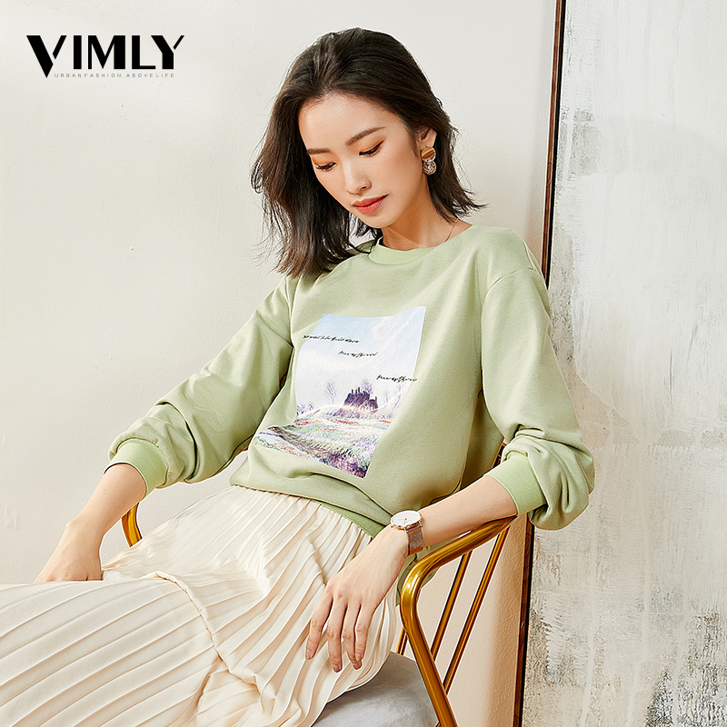 Vimly Women Casual Streetwear Sweatshirts Basic O Neck Hoodies For Women Female Autumn Solid Colour Green Pullovers Tops