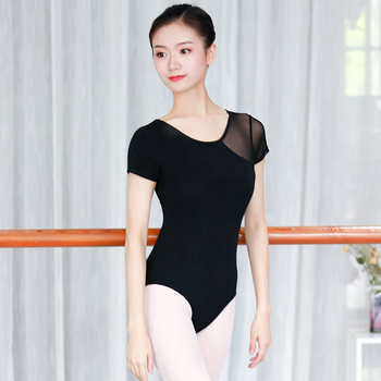 Dance Gymnastics Leotard Cotton Adult Ballet Leotards For Women Ballerina Wear Girls Black Mesh Splice - discount item  15% OFF Stage & Dance Wear