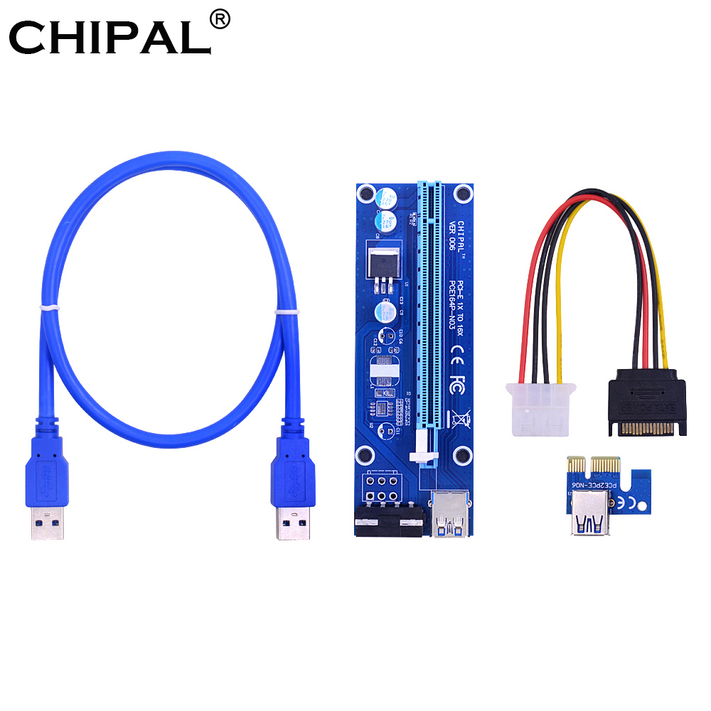 CHIPAL VER006 60CM PCIe PCI-E 1X to 16X Riser Card Extender SATA to 4Pin Power Cord USB 3.0 Data Cable for BTC Miner Bitcoin-0