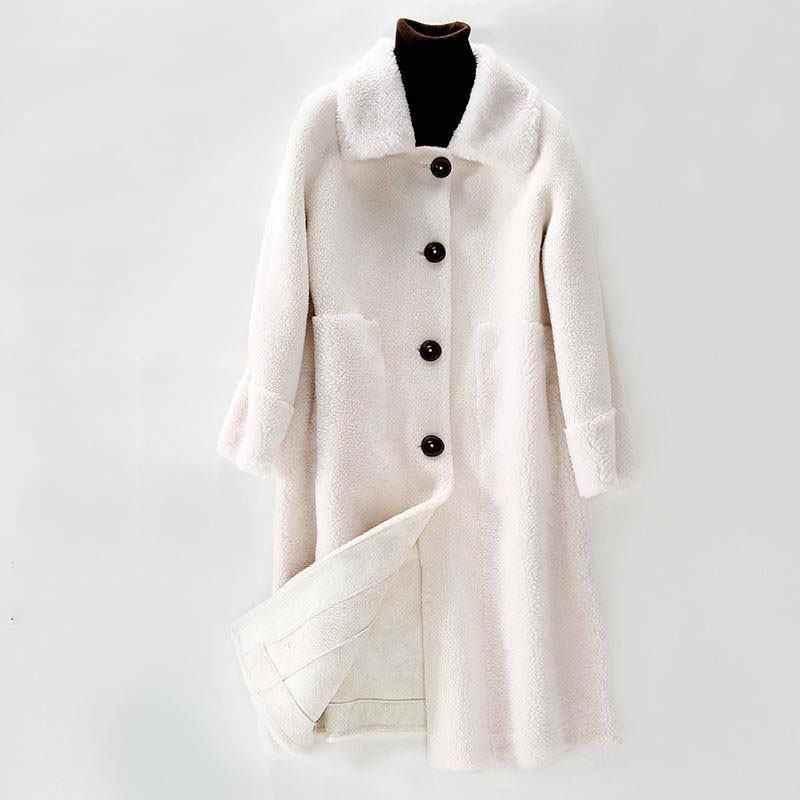 2019 Женское зимнее пальто из натурального меха, Мягкая Натуральная Овечья стрижка, шерстяная куртка, Женская плюшевая подкладка из натурального меха ягненка, пальто Hiver K325