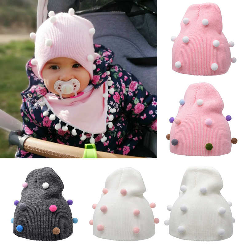 2019 New Arrival Winter Baby Hat Plush Knitted Caps Winter Warm Beanies Cute Colorful Ball Hats Child Crochet Cap Wholesale