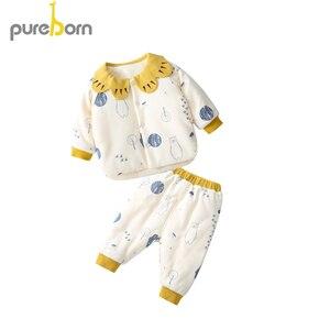 Image 1 - Pureborn conjunto de roupas para recém nascidos, casaco + calça, 2 peças, gola pétala, manga comprida, roupas grossas para criança, meninos e meninas, primavera inverno
