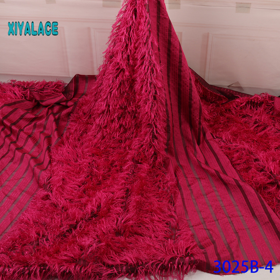 Brocade Lace Fabric African New Pattern Fabric Nigeria Lace Materials Lace Fabric French Mesh Lace For Party Dress YA3025B-4