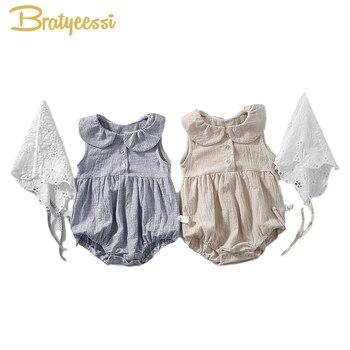 Pijama de bebé de verano, ropa de niña con gorro de encaje, mono de bebé para niñas, conjunto de bebé de algodón, ropa infantil informal