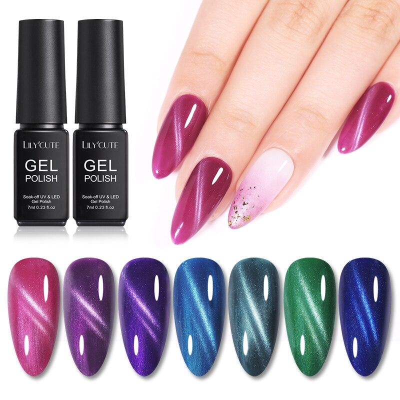 LILYCUTE 7ml Magnetic Gel Polish Purple Green 3D Cat Eye Nail Gel Colors Soak Off Nail Art Gel Varnish Long Lasting Gel Varnish