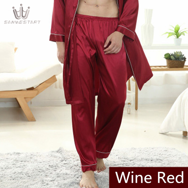 2020 Men's Bottoms Pajamas Male Stain Silk Pyjamas Autumn Homewear Long Sleep Pants Sleepwear Elastic Waist Wine Red  Outwear