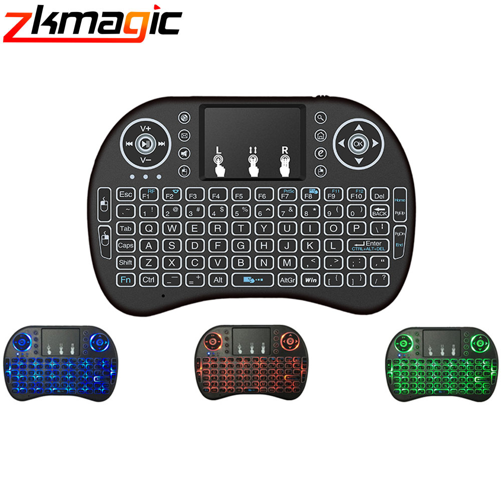 Smart tv I8 Mini 2.4G Wireless Keyboard with Touchpad 3 Color Backlit Air Mouse Russian Languages Android TV Computer Notebook Remote Controls    - AliExpress
