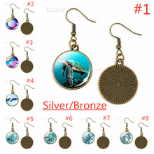 Bronze/Silver Dangle Earring Turtle Glass Dome  Jewelry Drop Sea Turtles Pendant, long
