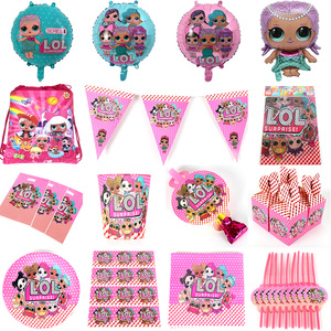 For 10 People Baby Boy Adult Birthday Party Supplies LOL Dolls Party Decoration Sets Paper Garland Cups baby Shower(China)